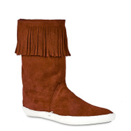 High Top with Fringe Handmade Leather Moccasin