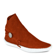 One-button style moccasin in our traditional rust color leather.