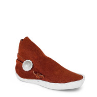 One button style moccasin for children. The sole is made of a 1/4 inch thick lattigo cow hide. The top portion of the moccasin is made of a top grain suede.  **Differences in dye lots and natural grain of the leather may cause differences in color of the top grain suede.