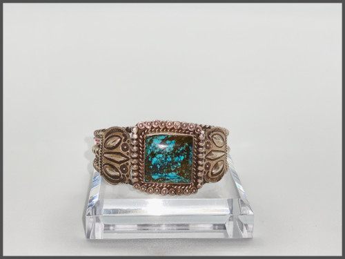 Cloud Mountain turquoise with sterling silver stamped and twisted wire, Navajo, circa 1930's