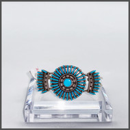 Zuni needle point Sleeping Beauty turquoise and silver cuff.