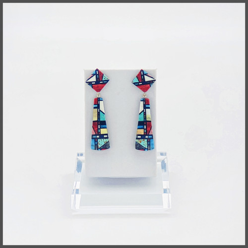 Chris Nieto's multi stone turquoise, lapis, mother of pearl mosaic design. Sterling silver posts. Approximately 2 1/2 inches in lengt