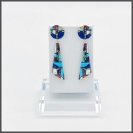 Chris Nieto's multi stone, turquoise, lapis, sponge coral, mosaic design earrings. Sterling silver posts.Approximately 2 3/4 inches in length