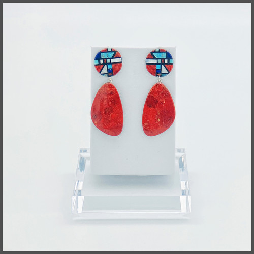 Chris Nieto's sponge coral and multi stone mosaic design earrings. Sterling silver posts. Approximately 2 1/4 inches in length.