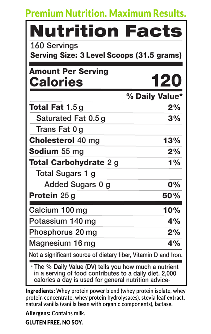 Eniva 100% Natural Whey Protein Powder Nutrition Facts Label