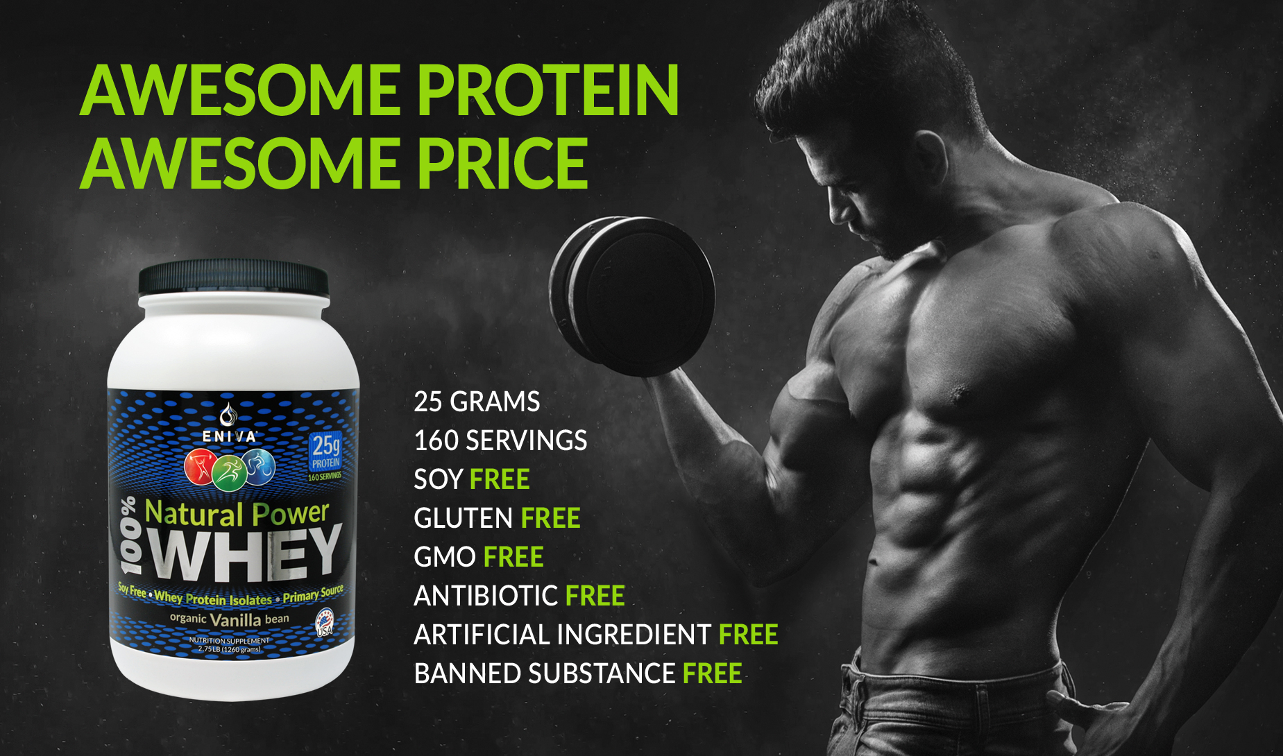 Eniva 100% Natural Whey Protein Powder