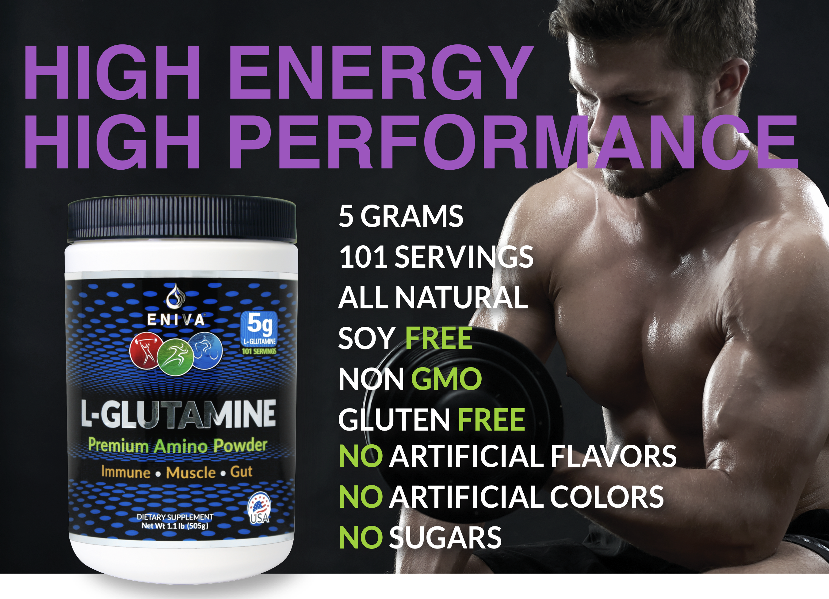 L-Glutamine 5 Grams High Energy High Performance Eniva