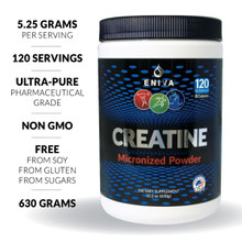 Creatine Monohydrate has been extensively studied in clinical research and shown to support muscle strength, power and size in combination with high intensity activity. Eniva Health's Creatine Powder provides premium creatine monohydrate in micronized form for easy mixing and better delivery to the body. • Micronized • Soy Free • Gluten Free • Non GMO • No Artificial Sweeteners • No Artificial Flavors • No Artificial Colors • No Sugars Product ID 7302