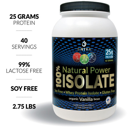 Eniva Natural Power 100% Isolate, 2.75 LB, Soy Free, Gluten Free, 40 servings, 25 grams protein per serving, Vanilla Flavor, Hormone Free, Antibiotic Free, 99% Lactose Free, No Gluten, Non-GMO, Product ID 7300B