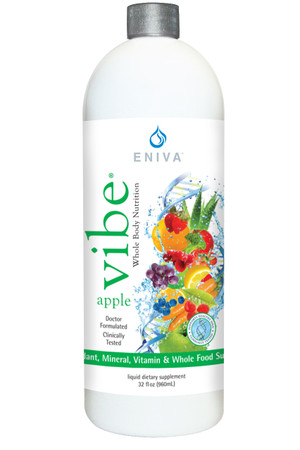 Eniva VIBE Apple, daily multi, 32 oz, antioxidants, minerals, vitamins, whole food liquid supplements, Full Spectrum nutrition, DNA support, bio-ready liquid design, specialized phytonutrient ingredients for healthy living, antioxidant strength, cellular defense formula, four specialized nutritional blends in one easy-to use formula, doctor formulated, clinically tested, SoluMAX immune health, AntiOX2 healthy aging, HeartPRO cardiovascular health, CollaMAX cellular health, whole body nutrition, enhanced absorption, pharmaceutical and food-grade natural nutrients,* Product ID 17013