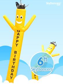 Sky Dancers Yellow Happy Birthday - 6ft