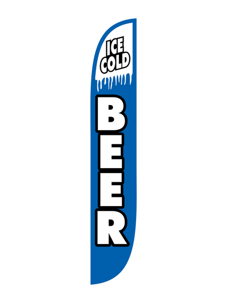 Ice Cold Beer - Blue & White Feather Flag
