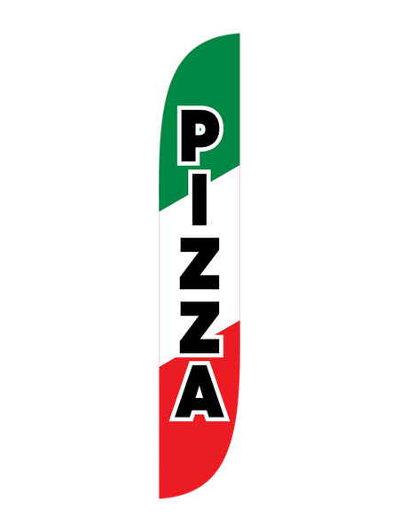 Pizza - Green White & Red Feather Flag