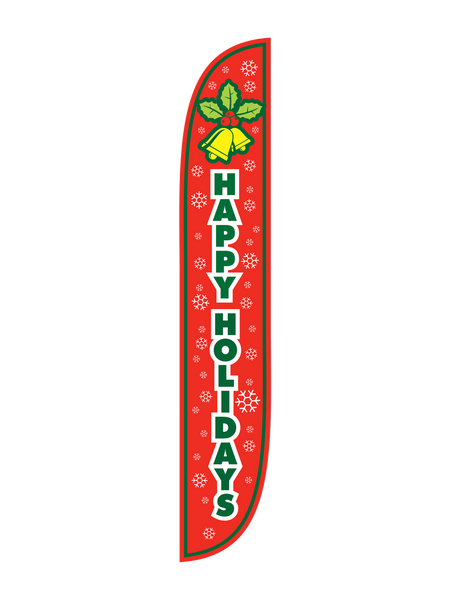 Happy Holidays Bells Red Feather Flag