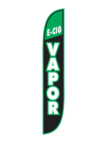 E-Cig Vapor Black & Green Feather Flag