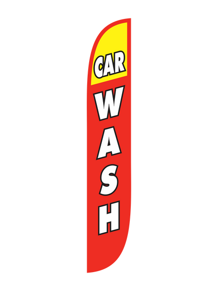 Car Wash Red & Yellow 12ft Feather Flag