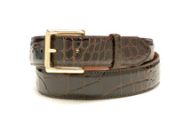 Genuine Alligator Belt Glazed Brown