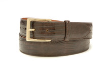 Genuine Lizard Belt Glazed Brown