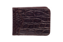 Money Clip Genuine Alligator Wallet Glazed Brown