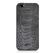 iPhone 5 Back Genuine Ostrich Leg Black Glazed