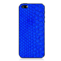 iPhone 5 Back Genuine Python Cobalt - Small Scale