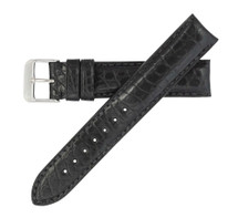 Genuine Alligator Watch Band Matte Black - Round Grain