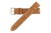 Genuine Crocodile Watch Band Tan - Contrast Stitching