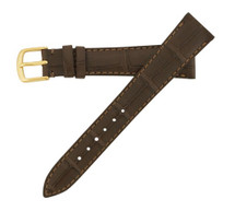 Genuine Alligator Watch Band Semi-Matte Brown