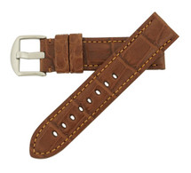 Genuine Alligator Watch Band Matte Chestnut - Panerai Style