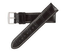 Genuine Alligator Watch Band Black - Contrast Stitching