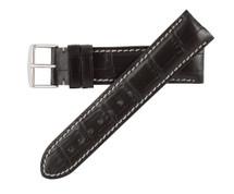 Genuine Alligator Watch Band Black - Contrast Stitching