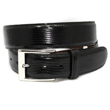 Genuine Lizard Belt Glazed Black - Wide