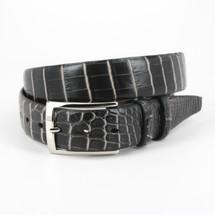 Genuine Crocodile Belt Two-Tone Black/White