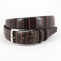 Genuine Crocodile Belt Two-Tone Brown/Cognac