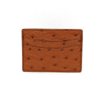 Genuine Ostrich Card Case Saddle