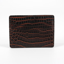 Genuine Crocodile Card Case Brown/Cognac