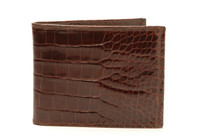 Bifold Genuine Alligator Wallet Glazed Brown