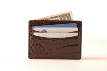 Spring Clip Genuine Alligator Wallet Glazed Brown