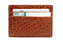 Spring Clip Genuine Alligator Wallet Glazed Cognac