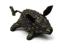Piggy Charm Python Skin Black And Gold