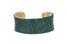 Cuff Bracelet Alligator Skin Forest Green