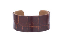 Cuff Bracelet Alligator Skin Glazed Cognac