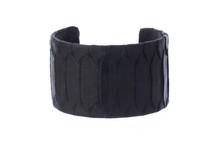 Cuff Bracelet Python Skin Matte Black