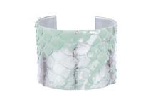 Cuff Bracelet Python Skin Silver Aqua