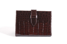 Genuine Crocodile Envelope Wallet Glazed Black