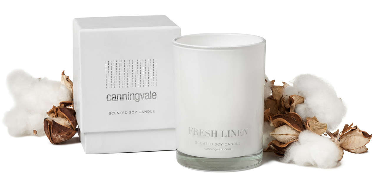 Fresh Linen Scented Soy Wax Candle - Medium
