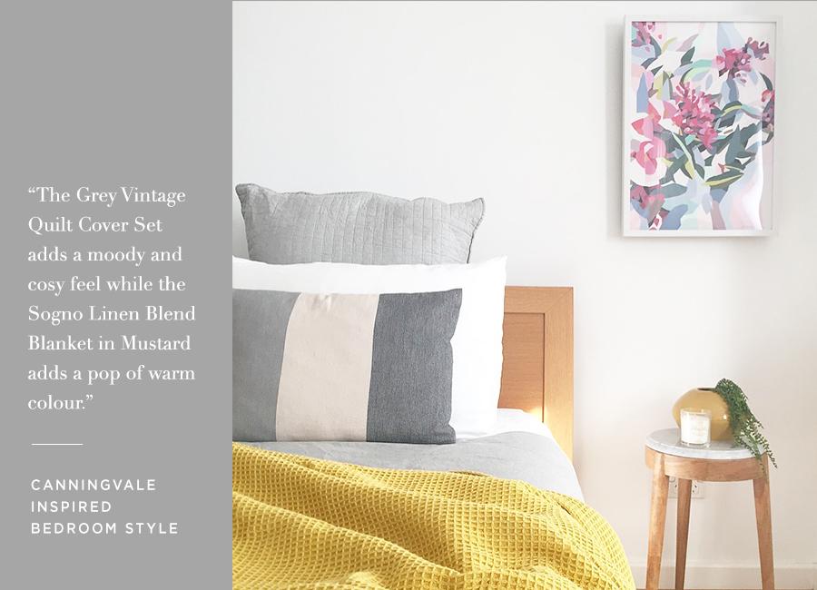 Canningvale Vintage Quilt Cover Set and Sogno Linen Blend Blanket