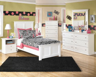 Ashley Bostwick Shoals White Dresser, Mirror, Chest & Twin Panel Bed
