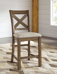 Ashley Moriville Beige Upholstered Barstool(Set of 2)