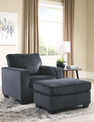 Ashley Altari Slate Chair with Ottoman